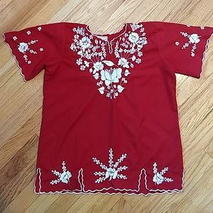 Vintage Mexican Embroidered Boho Blouse